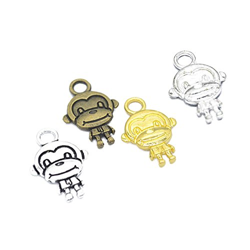 56pcs Mixed Color Tibetan Antique Silver Plated Cute Double Sides Monkey Charms Pendants for Jewelry Making DIY Bracelet & Necklace 22x20mm (56pcs Monkey)