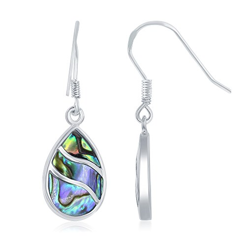 - Beaux Bijoux 925 Sterling Silver Abalone Wave Design Teardrop Dangling Earrings