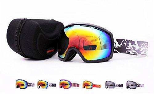 UNIQFUN(유니《구훈》) 스키 고글 고글 스노보드 스키 밀러 렌즈 더블 렌즈 흐림금지 UV컷 맨즈 레이디스 케이스 첨부 헬멧가