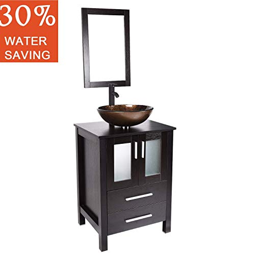 24 inch Bathroom Vanity Vessel Sink Combo Modern MDF Cabinet with Vanity Mirror Tempered Glass Counter Top Tempered Glass with Oil Rubed Bronze ORB 1.5 GPM Faucet and Pop Up Drain Ripple Blue