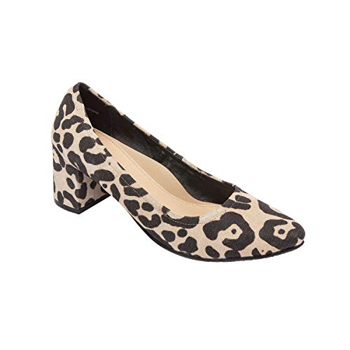 (PIC/PAY NARIN | Almond Toe Mid Block Heel Suede Pump Comfortable Insole Padded Arch Support Leopard Print Suede 9.5M)