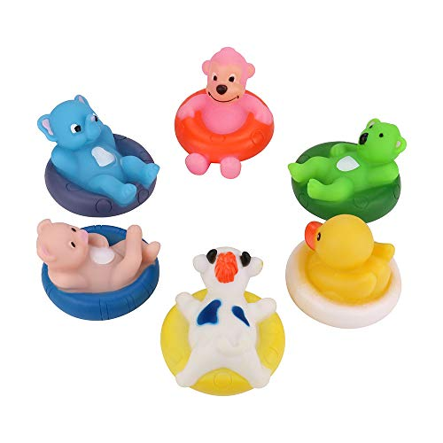 Leoy88 6Pcs Baby Kids Bath Toys Swimming Wash Play Cartoon Summer Sound Funny Toys