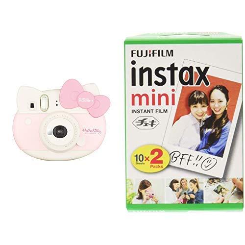 FUJIFILM 인스턴트 즉석 카메라 체키 instax mini 헬로 키티 INS MINI KIT CAMERA PK & 인스턴트 즉석 카메라 체키용 필름 20매입 INSTAX MINI JP 2