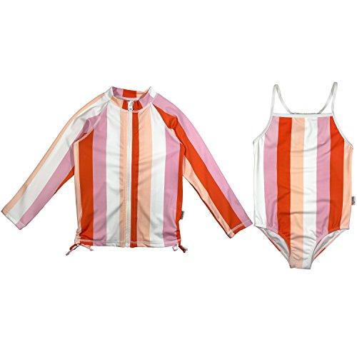SwimZip Girl Long Sleeve Rash Guard 1 Piece Swimsuit Set UPF 50 Zip18 Peach Stripe 12-18 Month by SwimZip