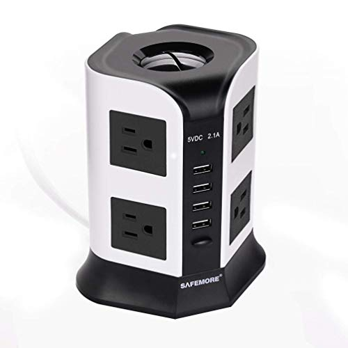 SAFEMORE Smart Power Plug Surge Protector Power Strip Tower 8-Outlet 4-USB Desktop Charging Station Multiple Plug Outlets with 6.5ft/2M Long Power Cord 110V Outlet Tower (White+Black)