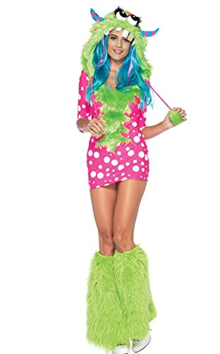 Sexy Monster Costume - 2 Piece Melody Monster Dotted Dress Costume with Furry (Sexy Melody Monster Costumes)