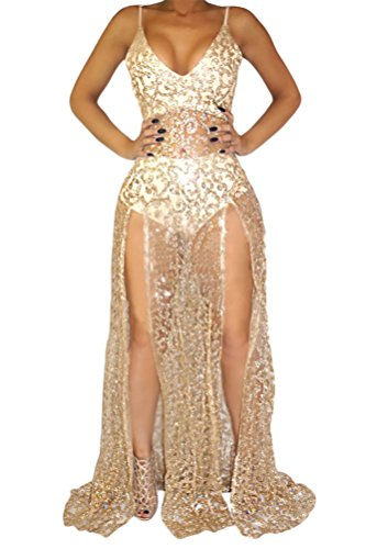 Womens Sexy Sleeveless V Neck Sequin Side Split Clubwear Cocktail Maxi Dress Gold M (Sexy Gold Sequin)