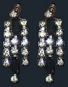 Rhinestones High Quality Spectacular Blue Agate Drop Earrings Vintage Jewelry Estate Classic Earrings Timeless Vintage Earrings