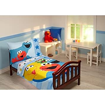 Sesame Street Furry Friends 4 Piece Toddler Bedding Set