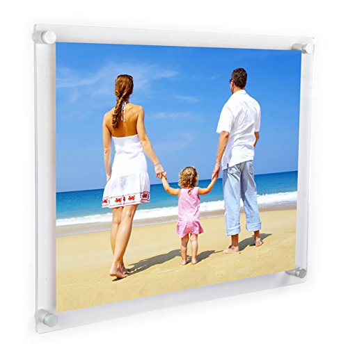 NIUBEE Clear Acrylic Wall Mount Floating Frameless Picture Frame Up to 18x24 Photo for Poster Photography Frames-Double Panel(Full Frame is 20.5x26.5 ()