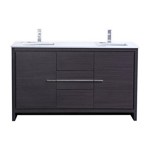 KubeBath Dolce 60″ Double Sink Gray Oak Modern Bathroom Vanity with White Quartz Counter-Top (Modern Double Vanities)