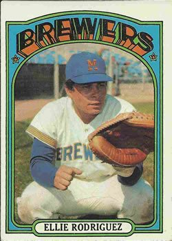 1972 O-Pee-Chee Regular (Baseball) Card# 421 Ellie Rodriguez of the Milwaukee Brewers VG Condition Ellie Rodriguez Brewers