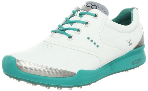 ECCO Women's Biom Hybrid Saddle Golf Shoe,White/Porcealain Green,38 EU/7-7.5 M US
