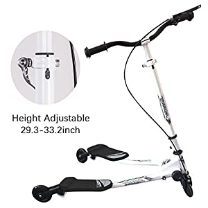 Rampmu Y Flicker Lift Scooter, Drifting Carving Wiggle Scooter for Kids, 3 Wheels Push Swing Scooter Foldable Speeder Tri Slider Kickboard for Age 5+ (US STOCK) (Black)