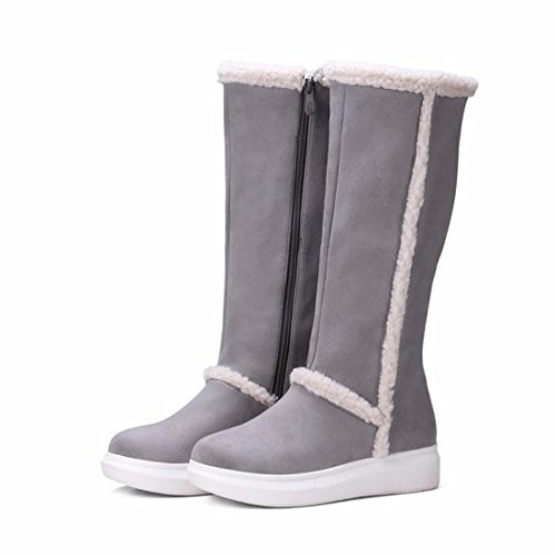 europeos botas tamaño Suede grueso y Grey nieve de inferior de Terry mujer americanos gran de zapatos dwqaAqf