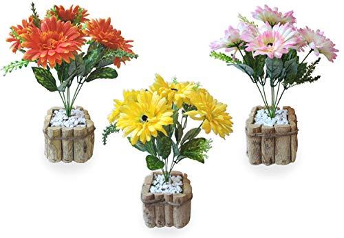 Conjunto Gérbera Cores Arranjo Flor Artificial Vaso Rústico