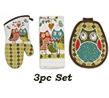 3pc Country Owl Kitchen Linen Set