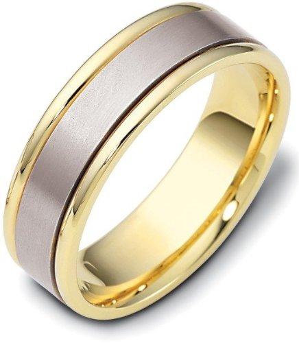Titanium Dora Ring (6.5mm Titanium & 14 Karat Yellow Gold Flat Style Wedding Band Ring - 9.5)