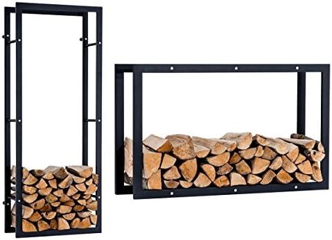 CLP Leñero De Interior Keri V3 I Soporte Metálico para Leña De Chimenea I Estantería De Almacenamiento De Leña De Montaje De Pared I 100 x 25 x 100 cm: Amazon.es: Bricolaje