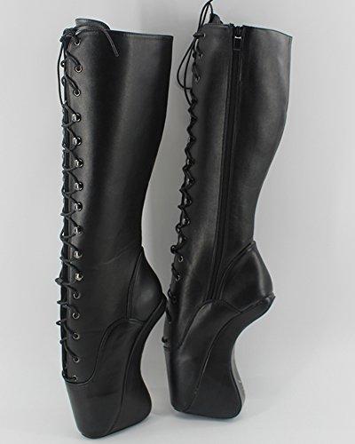 "Wonderheel 7"" wedges heel sexy fétiche lacets bottes genoux matt noir ballet chaussures femme"