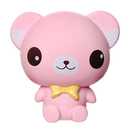 fuyage 6.0'' Pink Big Eyes Bear with Yellow Bow Tie Animal Squishies Slow Rising Jumbo Scented Squeeze Stress Relief Office Toys for Kids and Adults
