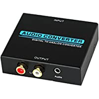Proster Digital to Analog Converter DAC Digital Optical Coaxial Toslink to Analog Stereo RCA Audio Converte Adapter AV L R Audio 3.5mm Output for Blu-ray DVD HDTV PS3 XBox 360