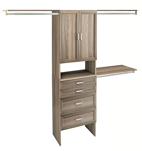 ClosetMaid 1935140 SuiteSymphony 25-Inch Closet Organizer with Shelves, 2-Doors and 4-Drawers, Natural Gray