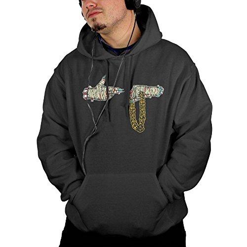 LAOSHIH Men's Run The Jewels Fashion Cotton Pockets Hooded Black X Large Jewel Tone Stripes