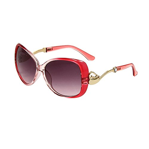 HUASHI Women's Big Box Frog Mirror Sunglasses Metal Small Horse Cart Sunglasses High Temperament Color - Pink Glasses Sun