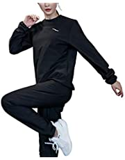 Leikance Dam fitness bastu kostym polyester fiber viktminskning toppar byxor kostym gym träning träningsoverall