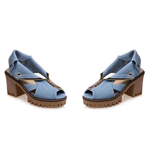 COOLCEPT Mujer Moda sin Cordones Sandalias Tacon Ancho Peep Toe Slingback Zapatos Cremallera Mezclilla Azul Claro