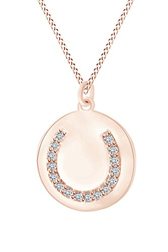 AFFY 14k Rose Gold Over Sterling Silver Round White Cubic Zirconia Horseshoe Disc Pendant Necklace