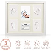 YESURPRISE Baby Handprint Kit Hand & Footprint Makers DIY Picture Photo Frames Non Toxic Clay Memorable Keepsakes Decoration for Newborn Baby Shower Room Wall Table Décor Wooden Frame+White Inkpad