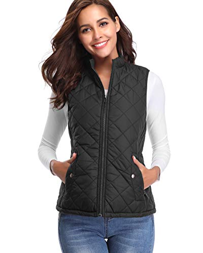 fuinloth Women's Padded Vest, Stand Collar Lightweight Zip Quilted Gilet Black S