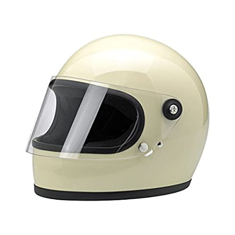 Biltwell Gringo S Solid Full-face Motorcycle Helmet - Vintage White / Medium - White Full Face Helmet