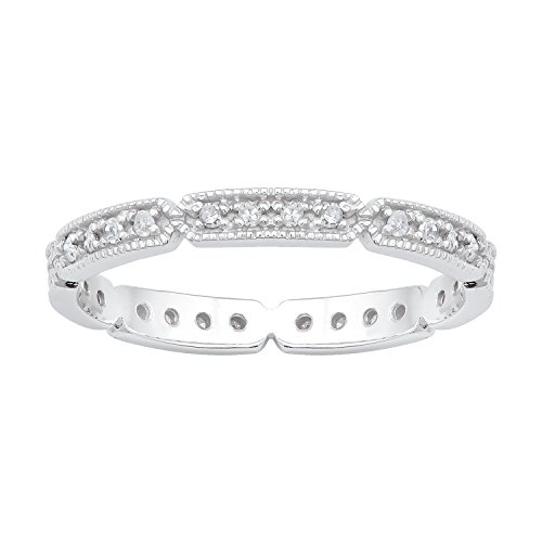 Instagems 10k White Gold Eternity Milgrain Diamond Wedding Band (1/5 cttw, I-J Color, I2-I3 Clarity)