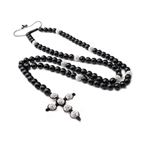 Rosary Necklace Mens Ladies Cross White Zirconia Crystal Beads.