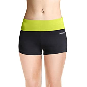 Baleaf Women's Workout Running Boy Cut Foldover Shorts Inner Pocket Lime Punch Size XS
