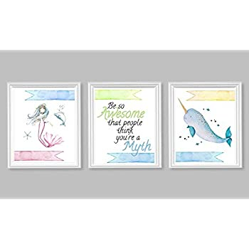 Silly Goose Gifts Mermaid Narwhal Be So Awesome That Other People Think You are A Myth Wall Art Set