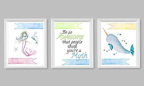 Silly Goose Gifts Mermaid Narwhal Be So Awesome That Other People Think You are A Myth Wall Art Set (Narwhal Baby Shower)