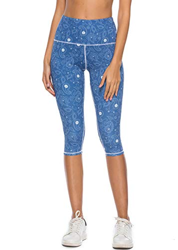 Mint Lilac Women's High Waist Printed Yoga Pants Tummy Control Workout Capri Leggings Small