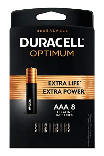 Duracell Optimum AAA Alkaline Batteries | Long Lasting 1.5V Triple A Battery | Resealable Package for Storage | 8 Count in USA