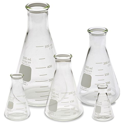 Corning Pyrex #4980 Erlenmeyer Narrow Mouth, Glass Flask Set - 5 Sizes - 50mL, 125mL, 250mL, 300mL, 500mL