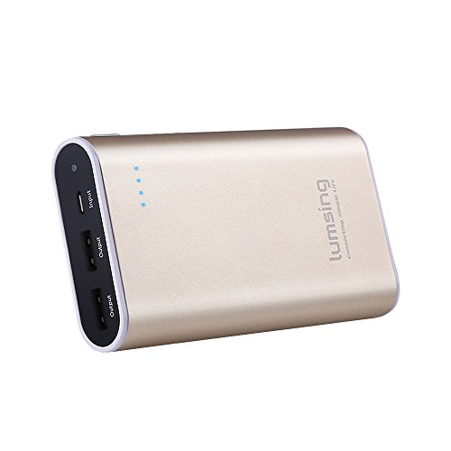 Lumsing Portable Charger 10050mAh Premium External Power Bank for SmartPhones Tablets(Gold)