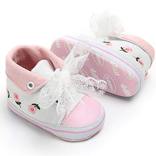Tutoo Unisex Baby Boys Girls Star High Top Sneaker Soft Anti-Slip Sole Newborn Infant First Walkers Canvas Denim Shoes (6-12 Months M US Infant, C-White)