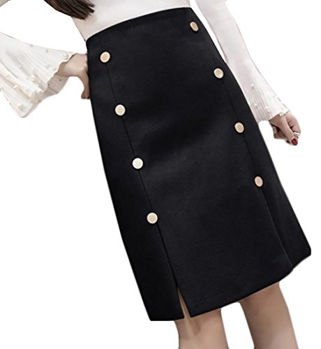Double Button Front Skirt - 2