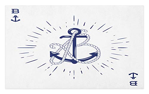 Ambesonne Vintage Nautical Tattoo Doormat, Vintage Anchor and Rope Starbursts Cardinal Directions Print, Decorative Polyester Floor Mat with Non-Skid Backing, 30 W X 18 L Inches, Indigo and White]()