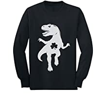 Tstars - Irish Clover T-Rex Dino St Patrick's Day Youth Kids Long Sleeve T-Shirt