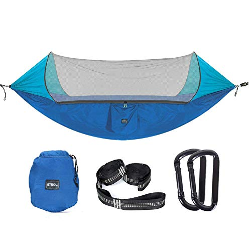 ETROL Hammock, Upgraded Camping Hammocks with Pop-Up Mosquito Net, Tree Straps, Portable Swing 2 in...