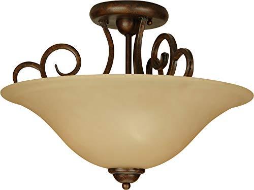 (Craftmade 7118PR3SF Cecilia Semi Flush Ceiling Lighting, 3-Light, 180 Watts, Peruvian Bronze (18